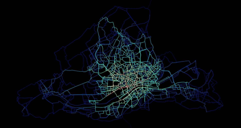 Bikesharing Heatmap aus berechneten Call-a-Bike Fahrten in Frankfurt am Main