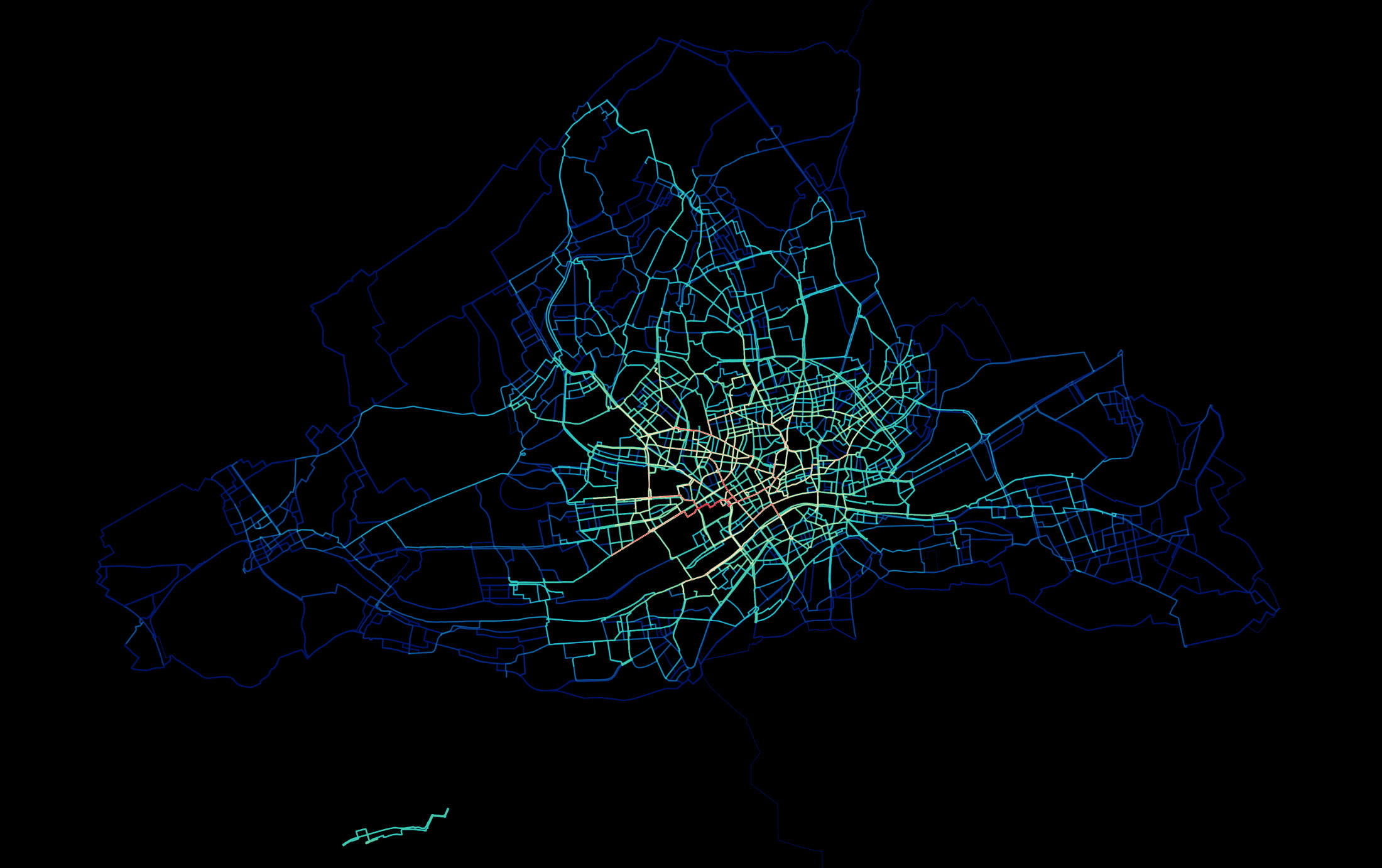 Bikesharing Heatmap Frankfurt am Main 2014–2017